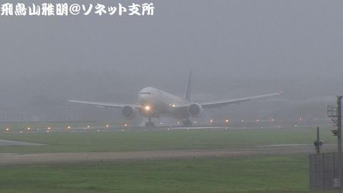 タイ国際航空 HS-TKJ@成田国際空港(Bラン展望台より)。RWY34Rにタッチダウンする瞬間。濃霧で見通し悪し。