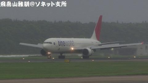 日本航空 JA604J@成田国際空港。小雨+霧のBラン展望台より。