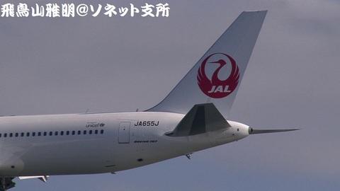 JA655J・機体後方のアップ。鶴丸が美しい…。
