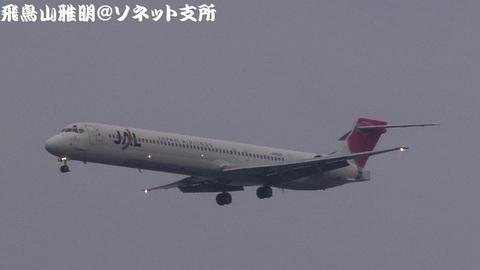 日本航空 JA8029@東京国際空港(浮島町公園より)。RWY34Lへのファイナルアプローチ。本日が運航最終日。