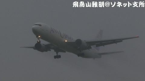 全日本空輸(ANAカーゴ) JA8356@雨天下の成田国際空港。RWY34Lエンドより。