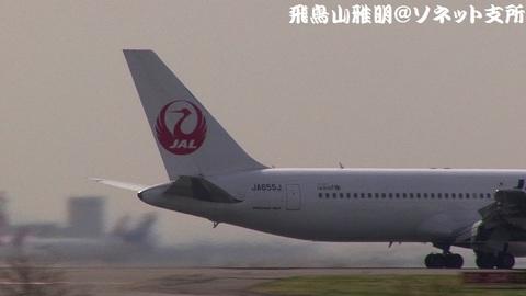 JA655J・機体後部(鶴丸)のアップ。