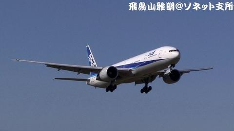 全日本空輸 JA783A@成田国際空港(さくらの山公園より)。RWY16Rへのファイナルアプローチ。パリからのNH206便。
