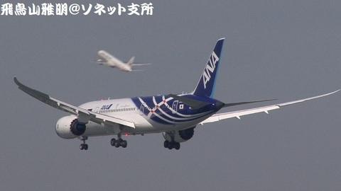 ファイナルアプローチ(最終進入)中のJA801A。後方に見えるのは、RWY34Rから離陸した日航機。