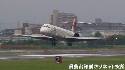 日本航空 JA8062@大阪国際空港(伊丹スカイパークより)。もうまもなくRWY32Lに着陸…。