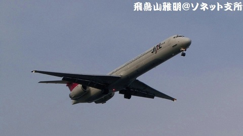 RWY22にアプローチする、日本航空のJA8070@東京国際空港。城南島海浜公園より。
