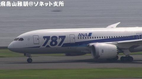 離陸滑走中のJA815A。機体前方(『787』デカロゴ)のアップ。