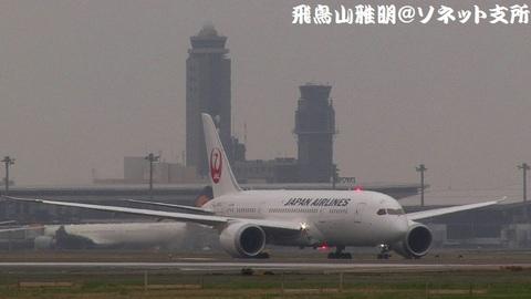 日本航空 ボーイング787-8 ドリームライナー JA822J@成田国際空港(RWY34Lエンドより)。2本のタワー(管制塔)を絡めたキャプチャ。