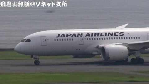 離陸滑走中のJA826J。機体前方のアップ。