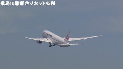 さらに上昇、車輪格納中のJA826J。 JL21便 北京首都国際空港行きです。